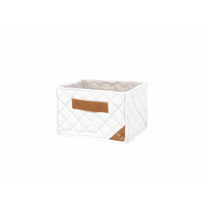 korb aus gestepptem stoff weiss f r regal passend. Black Bedroom Furniture Sets. Home Design Ideas